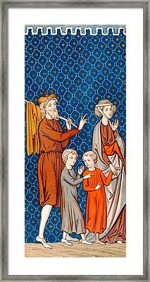 Elimelech And His Wife Naomi With Their Two Sons Framed Print by French School