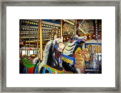 Elizabeth And Friends- Carousel Ponies Framed Print by Colleen Kammerer