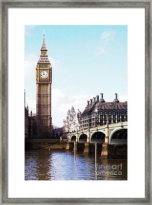 Elizabeth Tower On The Thames Framed Print by Jessica Panagopoulos