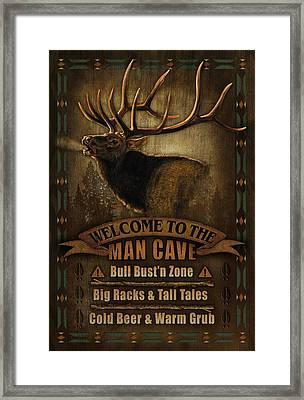Elk Man Cave Sign Framed Print by JQ Licensing