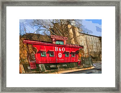 Ellicott City Train And Factory Framed Print by Stephen Younts