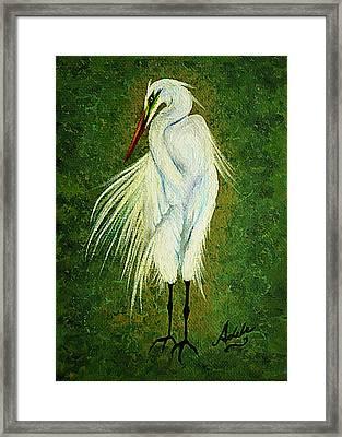 Ellie Egret Framed Print by Adele Moscaritolo