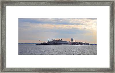 Ellis Island With The Statue Of Liberty Framed Print by Bill Cannon
