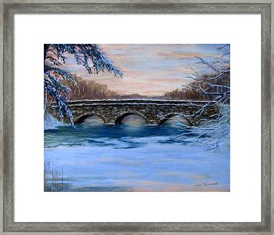 Elm Street Bridge On A Winter's Morn Framed Print by Jack Skinner