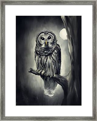 Elusive Owl Framed Print by Lourry Legarde