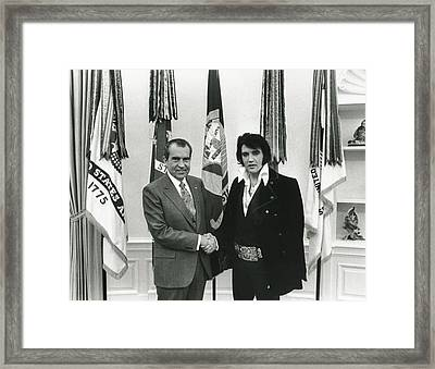 Elvis And Nixon Framed Print by Unknown