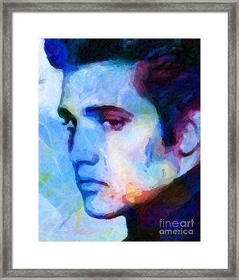 Elvis Blue Framed Print by Lutz Baar