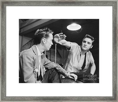 Elvis Presley And Cousin Gene Smith Cropped Image Framed Print by The Phillip Harrington Collection