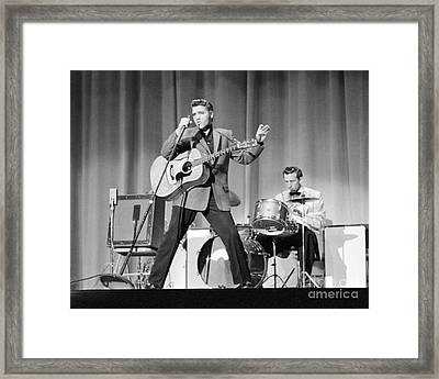 Elvis Presley And D.j. Fontana Performing In 1956 Framed Print by The Phillip Harrington Collection
