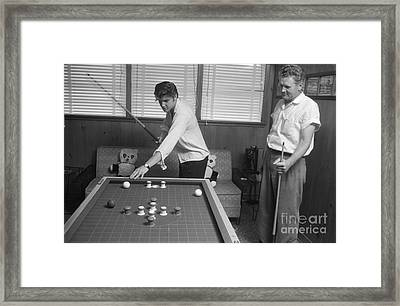 Elvis Presley And Vernon Playing Bumper Pool 1956 Framed Print by The Phillip Harrington Collection
