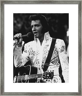 Elvis Presley Singing Framed Print by Retro Images Archive