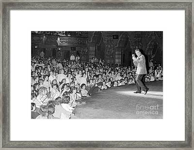 Elvis Presley In Concert At The Fox Theater Detroit 1956 Framed Print by The Phillip Harrington Collection