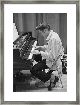 Elvis Presley On Piano While Waiting For A Show To Start 1956 Framed Print by The Harrington Collection