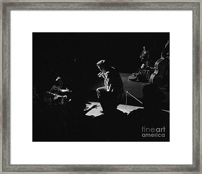Elvis Presley On Stage At The Fox Theater In Detroit 1956 Framed Print by The Phillip Harrington Collection