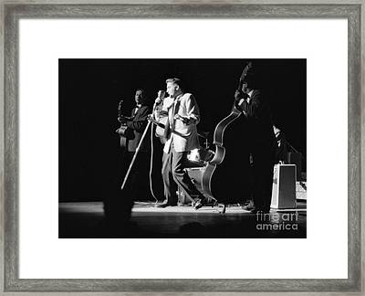 Elvis Presley On Stage With Scotty Moore And Bill Black 1956 Framed Print by The Phillip Harrington Collection