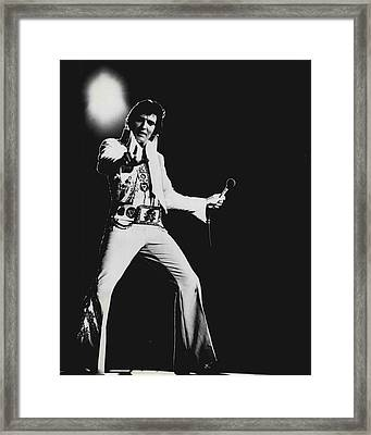 Elvis Presley On Stage Framed Print by Retro Images Archive