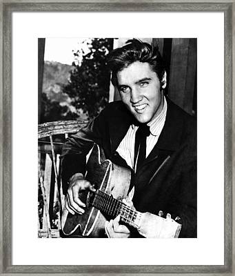 Elvis Presley Smiles  Framed Print by Retro Images Archive