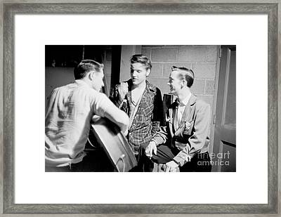 Elvis Presley With Gene Smith And Scotty Moore 1956 Framed Print by The Phillip Harrington Collection