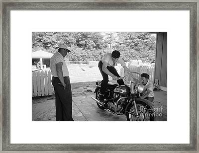 Elvis Presley With His Harley Kh And His Father Vernon Framed Print by The Phillip Harrington Collection