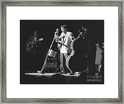 Elvis Presley With Scotty Moore And Bill Black 1956 Framed Print by The Phillip Harrington Collection