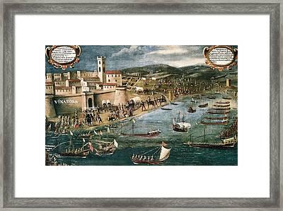 Embarkation Of Moriscos In The Harbor Framed Print by Everett