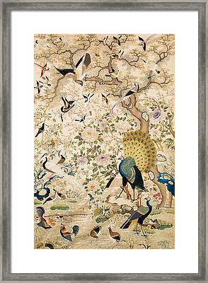 Embroidered Panel With A Pair Of Peacocks And Numerous Other Birds Framed Print by Chinese School