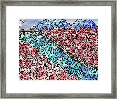 Emerald River Roses Framed Print by Barbara St Jean