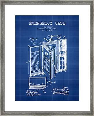Emergency Case Patent From 1904 - Blueprint Framed Print by Aged Pixel