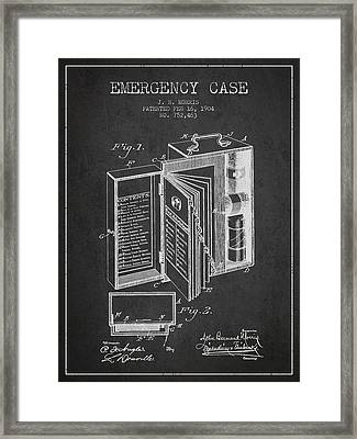 Emergency Case Patent From 1904 - Charcoal Framed Print by Aged Pixel