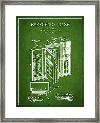 Emergency Case Patent From 1904 - Green Framed Print by Aged Pixel