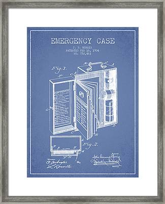 Emergency Case Patent From 1904 - Light Blue Framed Print by Aged Pixel