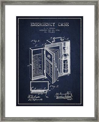 Emergency Case Patent From 1904 - Navy Blue Framed Print by Aged Pixel