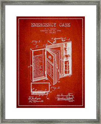 Emergency Case Patent From 1904 - Red Framed Print by Aged Pixel