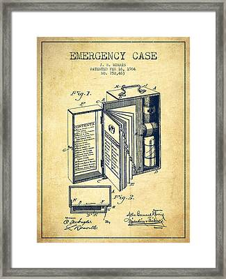 Emergency Case Patent From 1904 - Vintage Framed Print by Aged Pixel