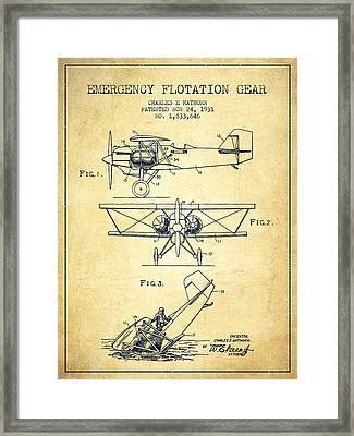 Emergency Flotation Gear Patent Drawing From 1931-vintage Framed Print by Aged Pixel