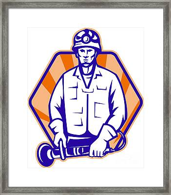 Emergency Worker With Angle Grinder Tool Retro Framed Print by Aloysius Patrimonio