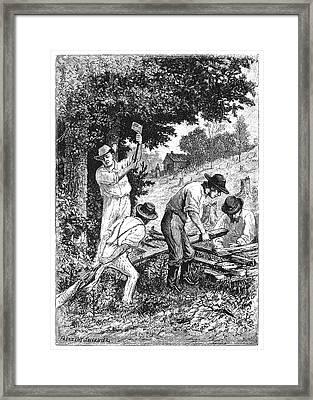 Emigrants Fence Building Framed Print by Granger
