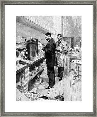 Emile Roux Preparing Croup Vaccine Framed Print by Collection Abecasis
