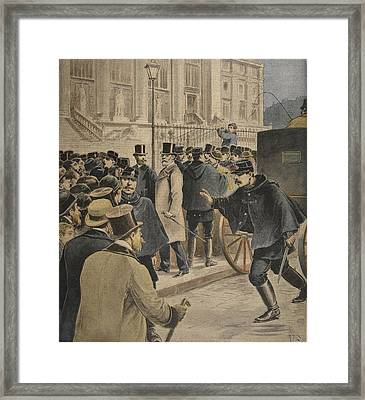 Emile Zola Outside The Courthouse Framed Print by Henri Meyer