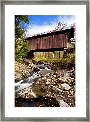 Emily's Covered Bridge Near Stowe Framed Print by Brian Jannsen