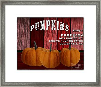 Emilys Pumpkin Patch Framed Print by Marvin Blaine