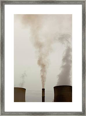 Emissions From A Coal Fired Power Station Framed Print by Ashley Cooper