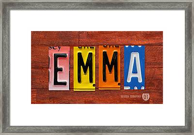 Emma License Plate Name Sign Fun Kid Room Decor Framed Print by Design Turnpike