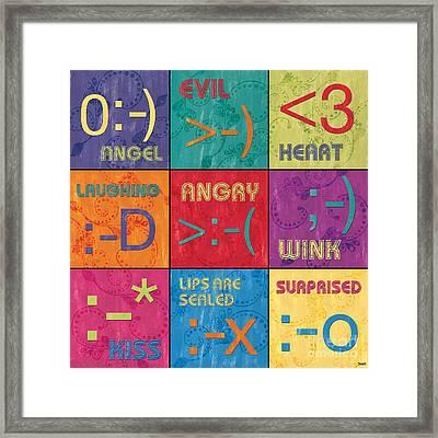 Emoticons Patch Framed Print by Debbie DeWitt