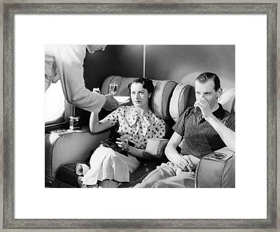 Empire Flying Boat Lounge Framed Print by Underwood Archives