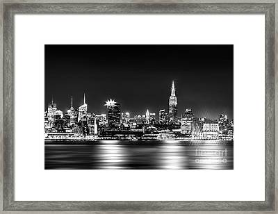 Empire State At Night - Bw Framed Print by Az Jackson