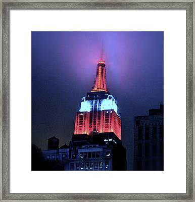 Empire State Building At Night Framed Print by Michael Dagostino