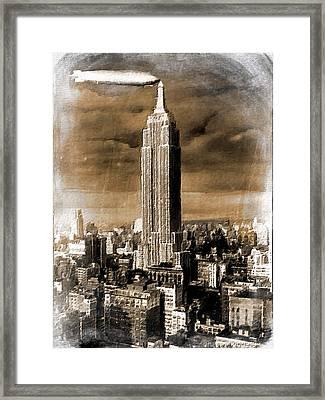 Empire State Building Blimp Docking Sepia Framed Print by Tony Rubino