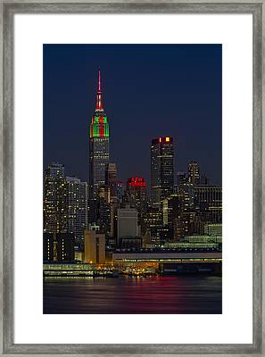 Empire State Building In Christmas Lights Framed Print by Susan Candelario