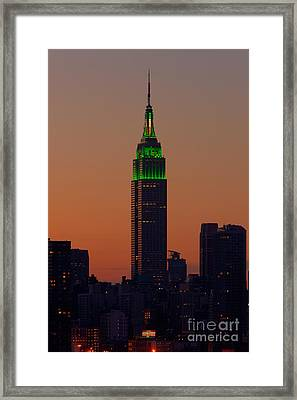 Empire State Building Saint Patricks Day Lighting I Framed Print by Clarence Holmes